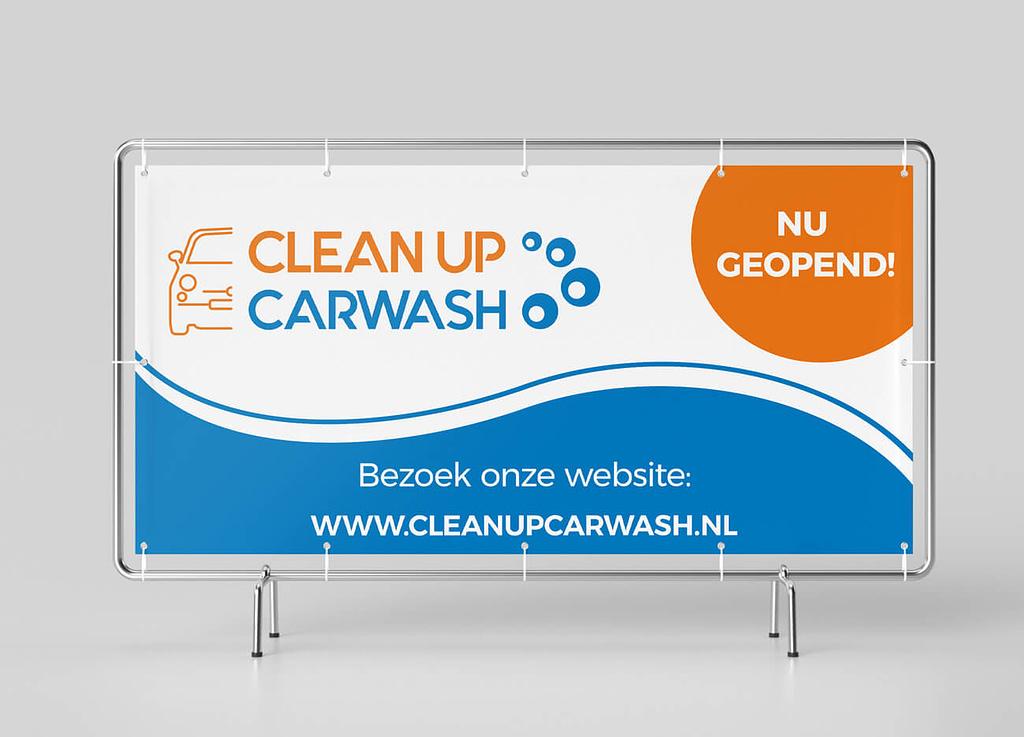 Zeildoek ontwerp voor Clean Up Carwash