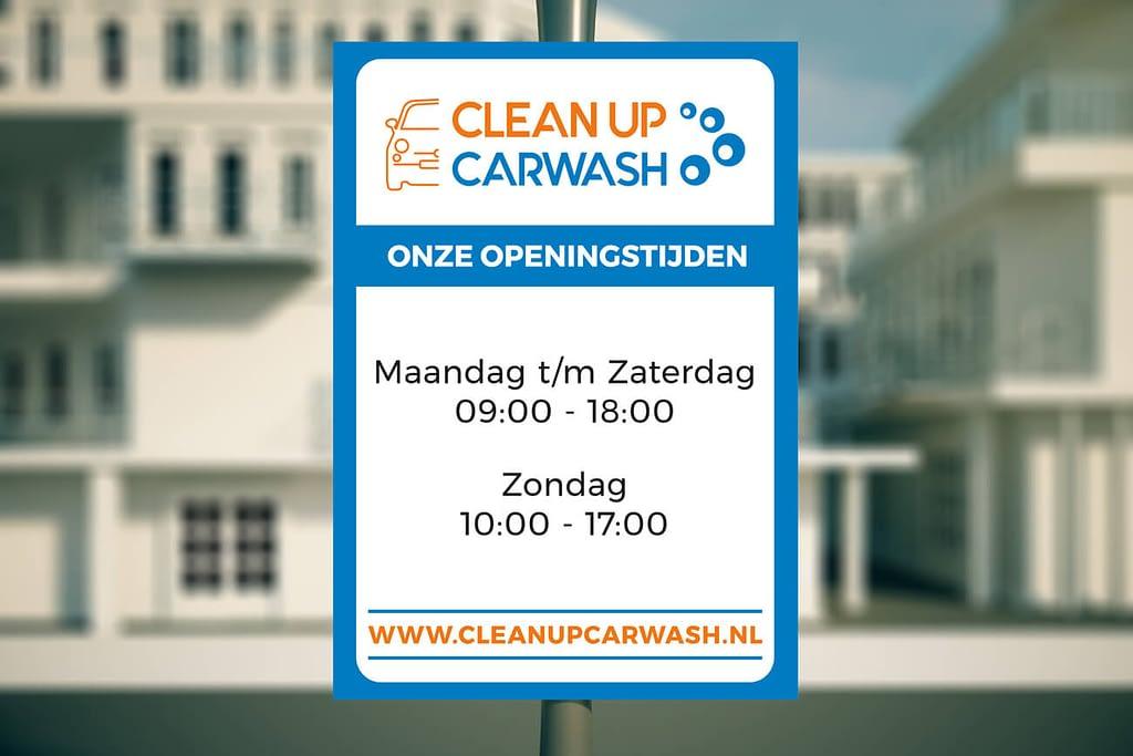 Clean Up Carwash - Poster design met openingstijden