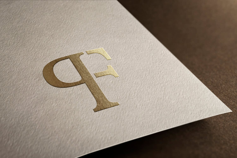 Elegant PF monogram logo design