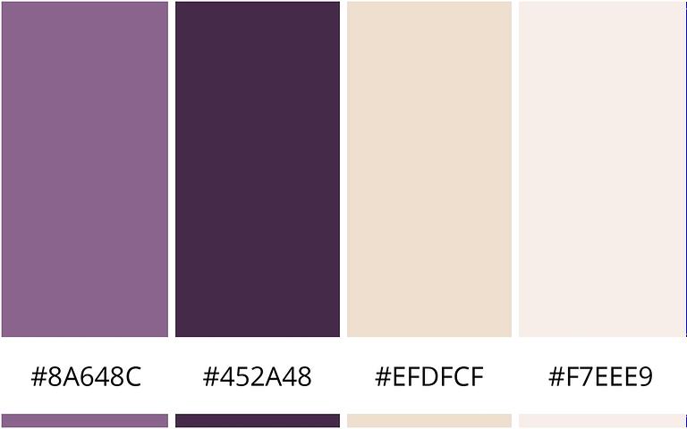 paars en perzik minimalistische kleurencombinatie voor je website