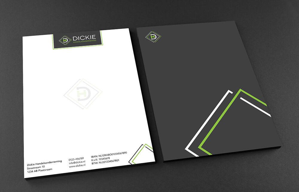 Dickie - Briefpapier ontwerp voor- en achterkant