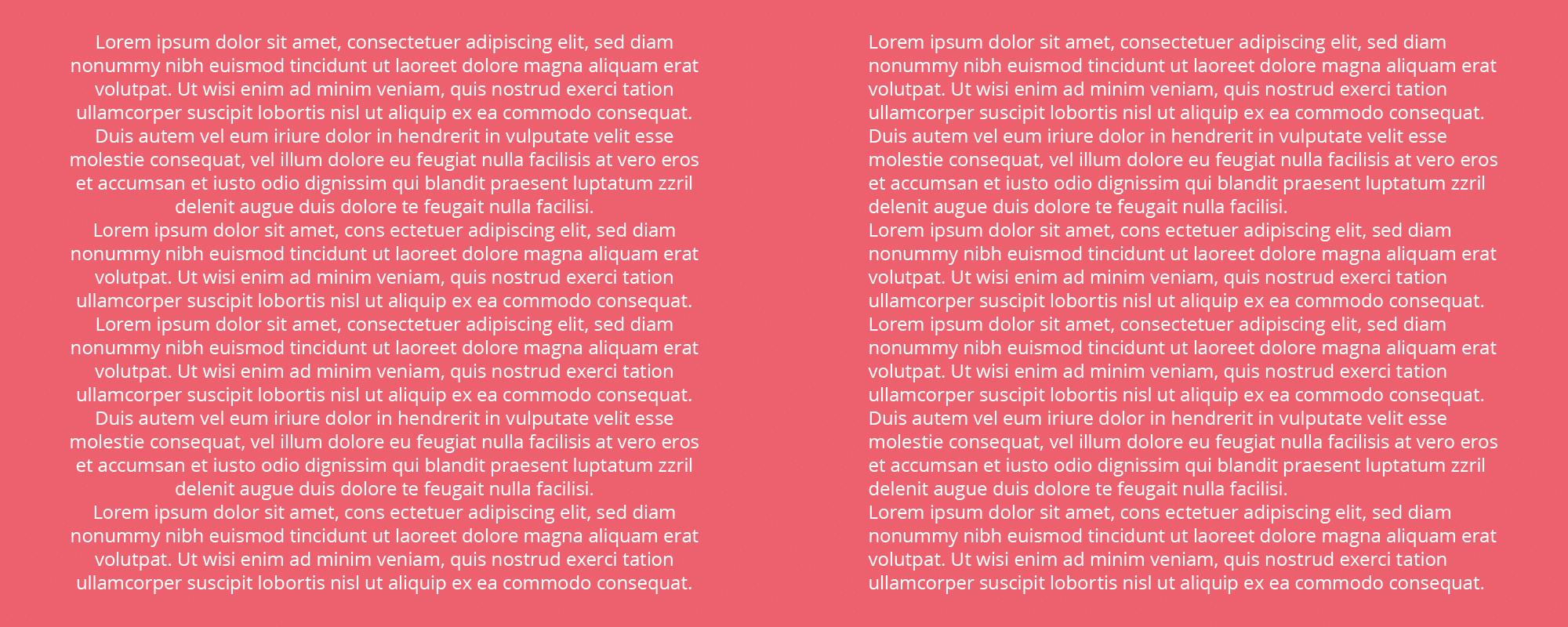 veel voorkomende typografie fout - gecentreerde tekst
