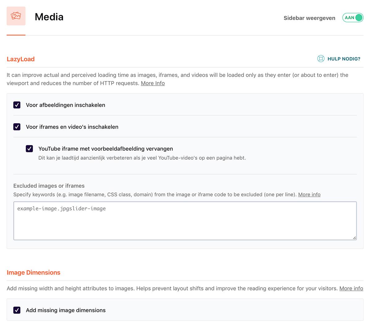 wp rocket media instellingen