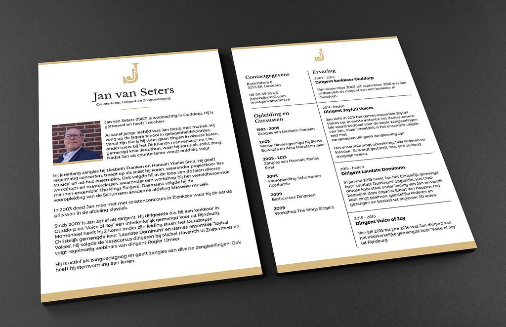 CV ontwerp countertenor en dirigent Jan van Seters