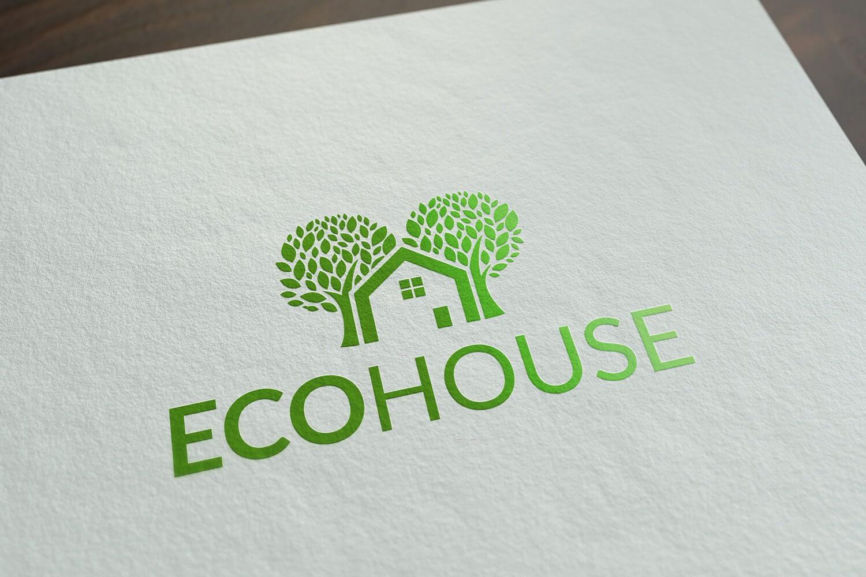 Ecohouse - ecologisch, groen logo met huis en bomen
