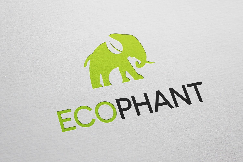 Ecophant ecological elephant logo design