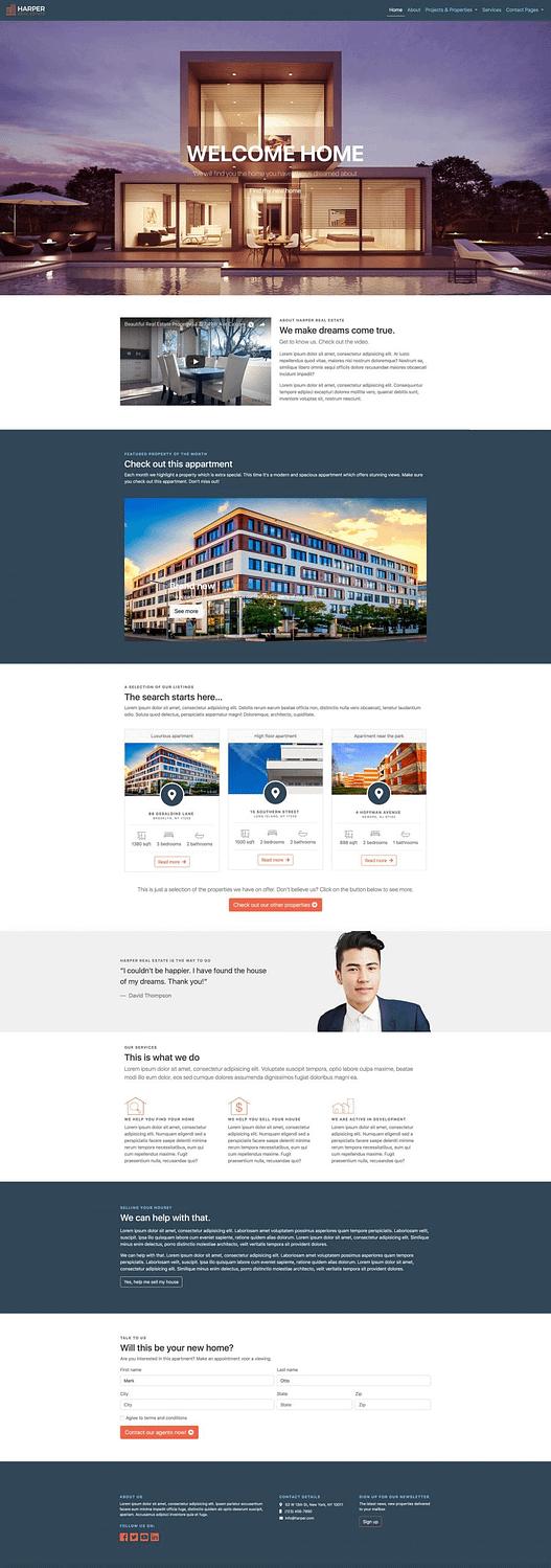 Makelaar website design homepage voorbeeld