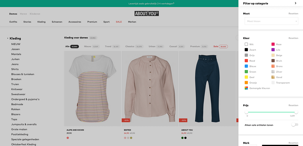 About You off-canvas sidebar - Hoe bouw je een webshop met WooCommerce en Astra