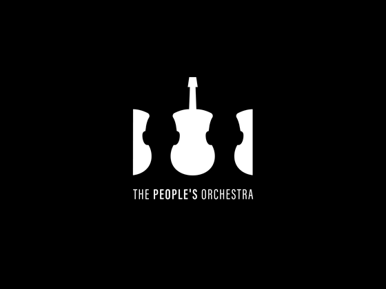 the peoples orchestra negative space logo