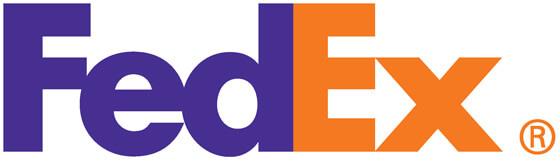 FedEx logo met pijl in negatieve ruimte