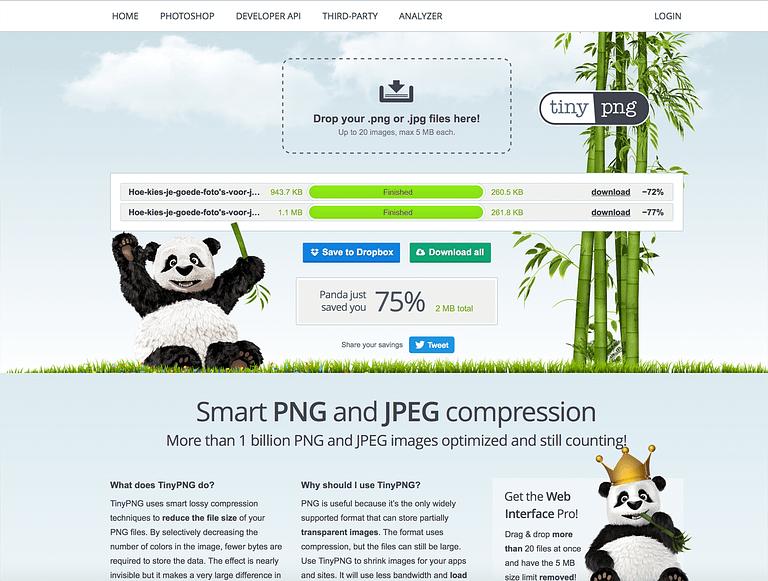 foto verkleinen met tinypng - goede foto's voor je website kiezen