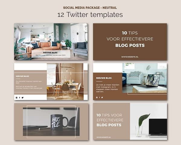 Twitter posts templates - Social media sjablonen