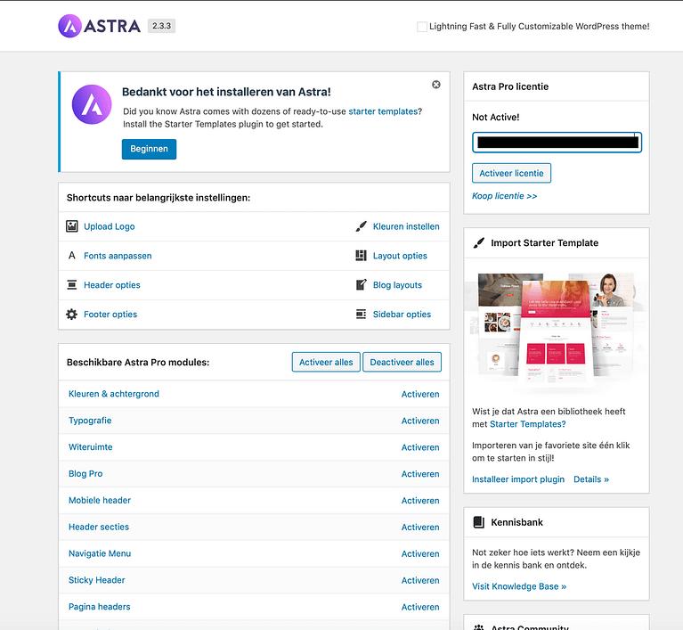 Activeer licentie Astra