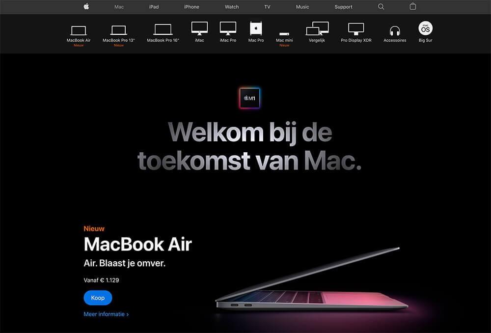 Apple webdesign trend in 2021 Dark Mode