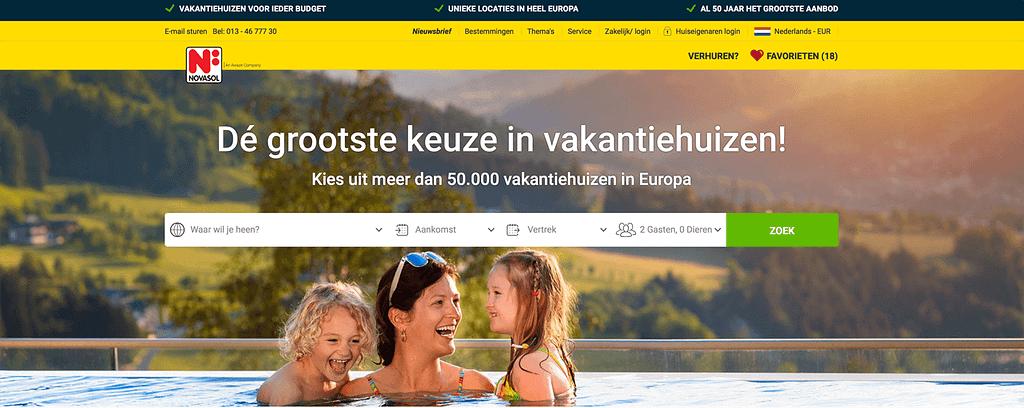 Hoe kies je goede foto's voor-je website voorbeeld Novasol