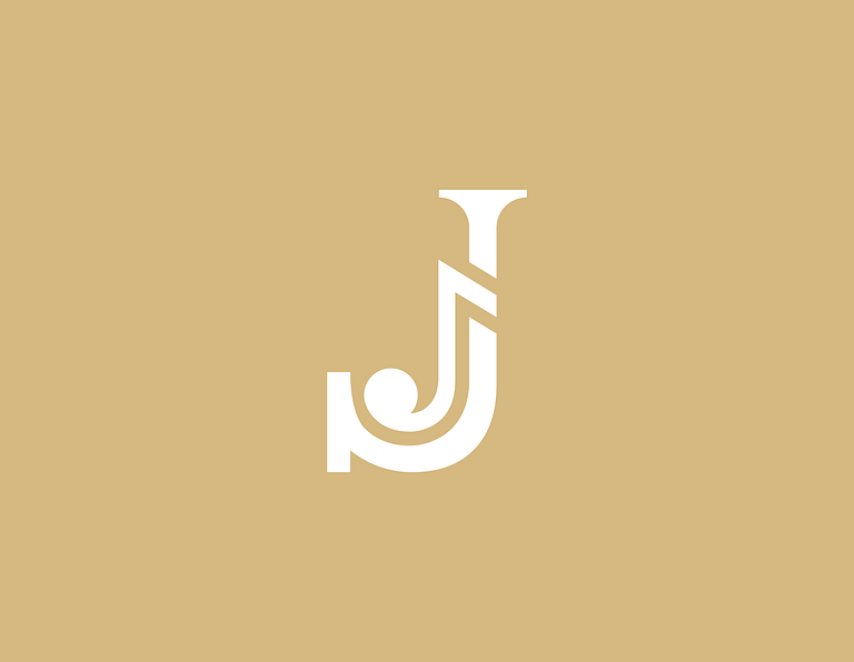 J music logo design on about page