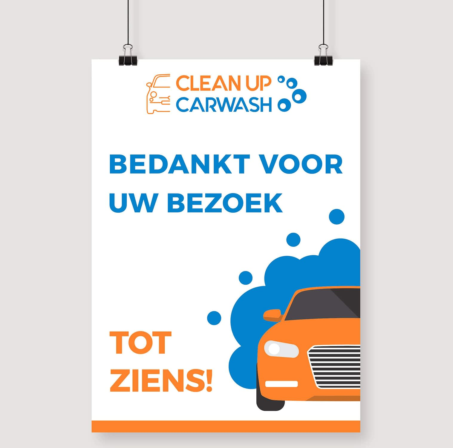 Carwash thank you for your visit poster design